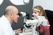 Eye examination at clinic