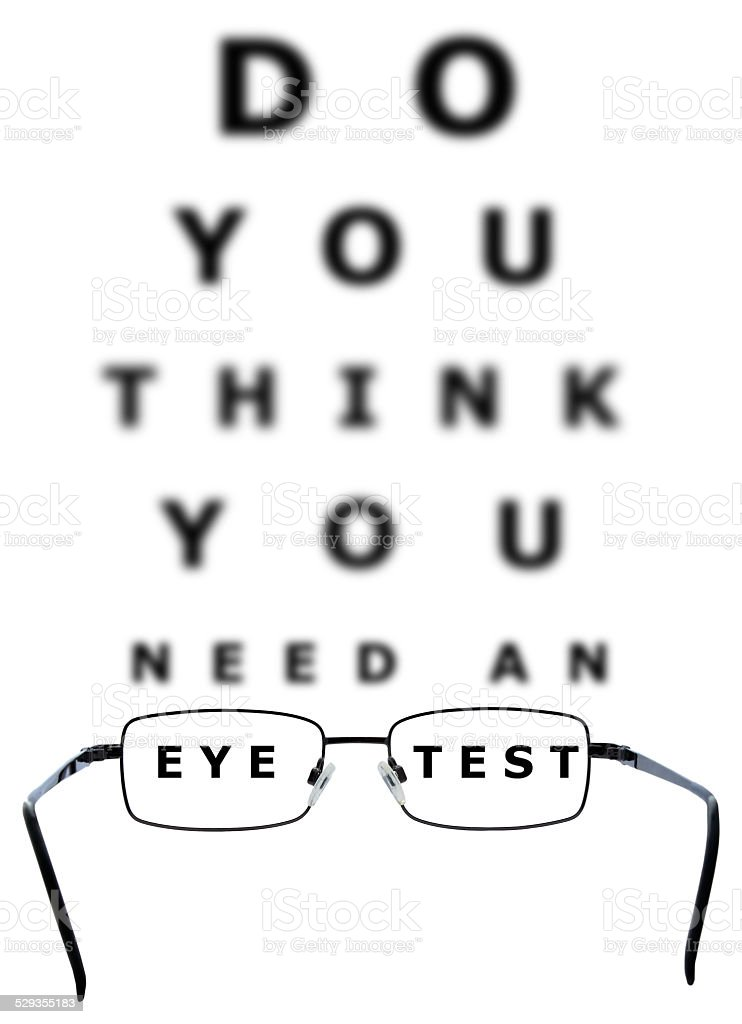 Eye Examination Chart and Glasses stock photo