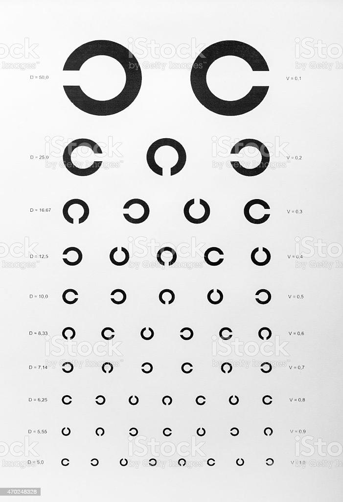 Eye examination chart stock photo