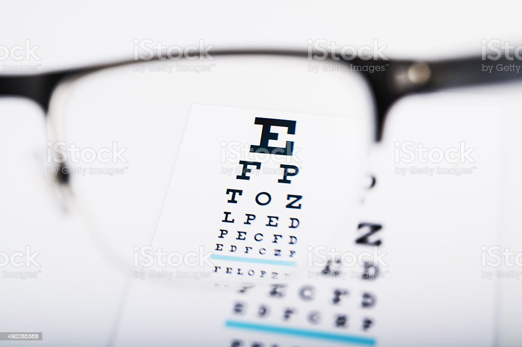 Eye glasses focus on exam chart stock photo