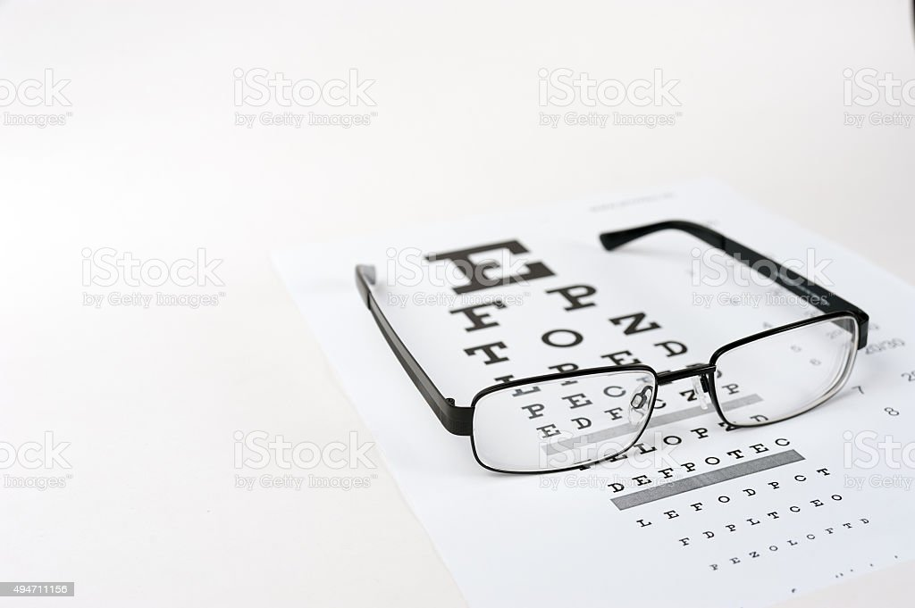 Eye glasses on eyesight test chart background close up stock photo