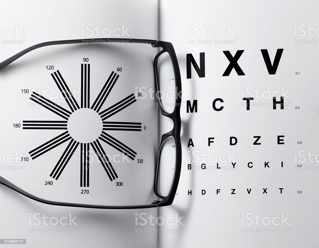 Eye glasses on eyesight test chart stock photo