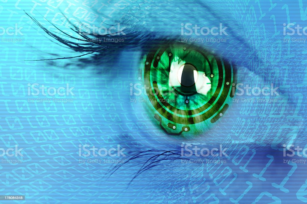 eye iris and  circuit binary internet concept stock photo