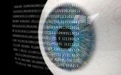 Eye Looking at Binary Code.