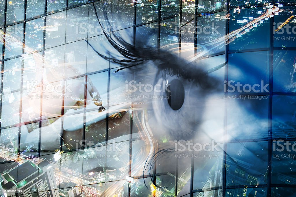 Eye looks to the future business. stock photo