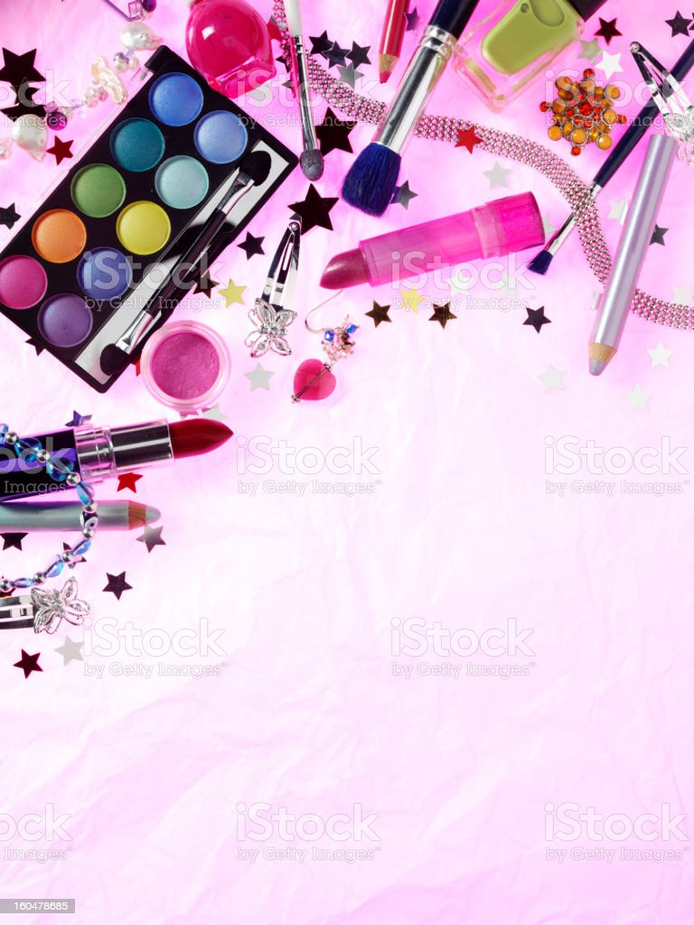 Eye Make Up with Lipstick, Nail Polish and Jewellery royalty-free stock photo