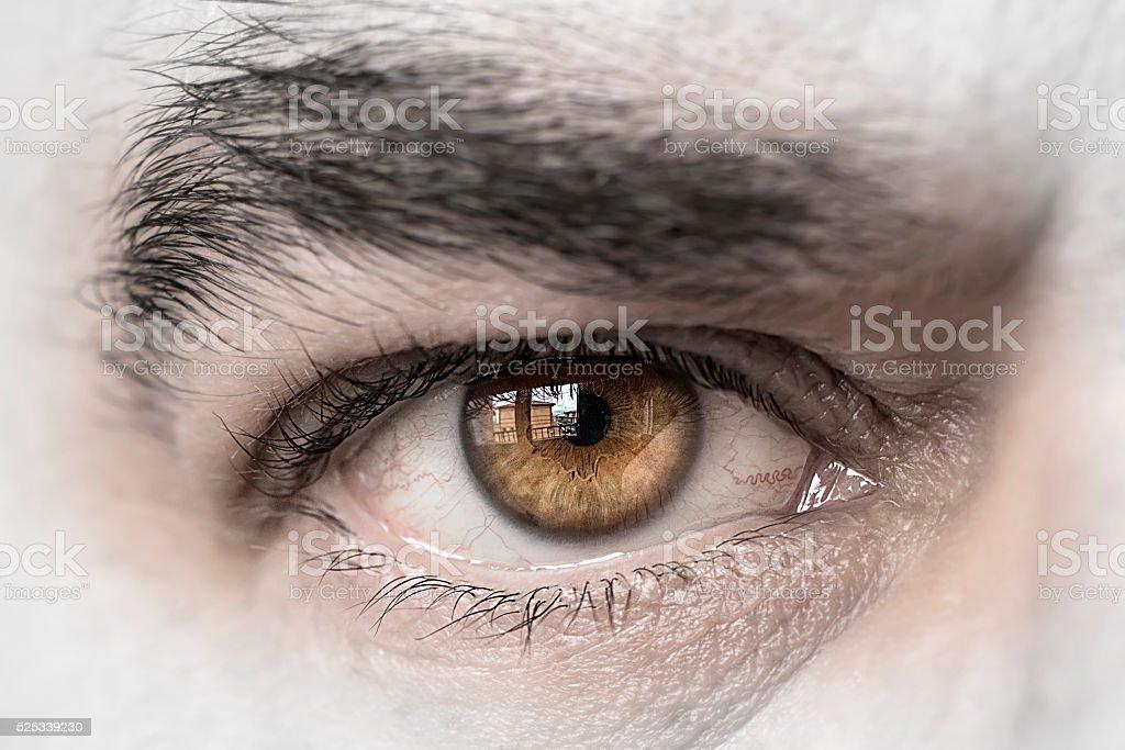 Eye man close-up stock photo