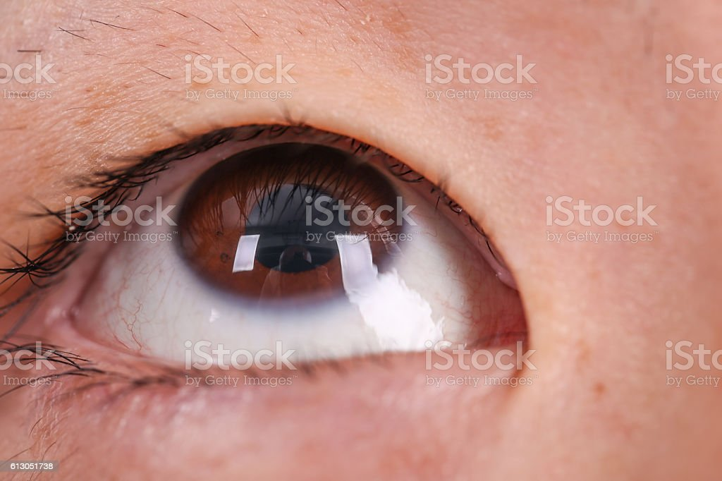 Eye of a Asian man stock photo