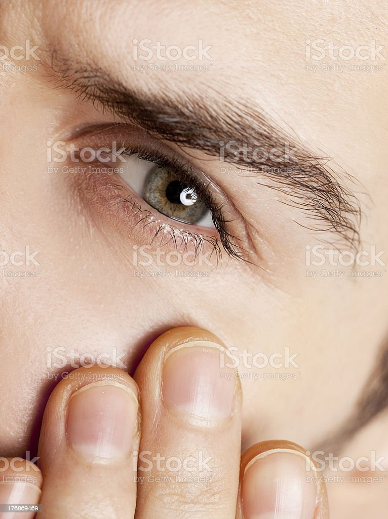 eye of a young man stock photo