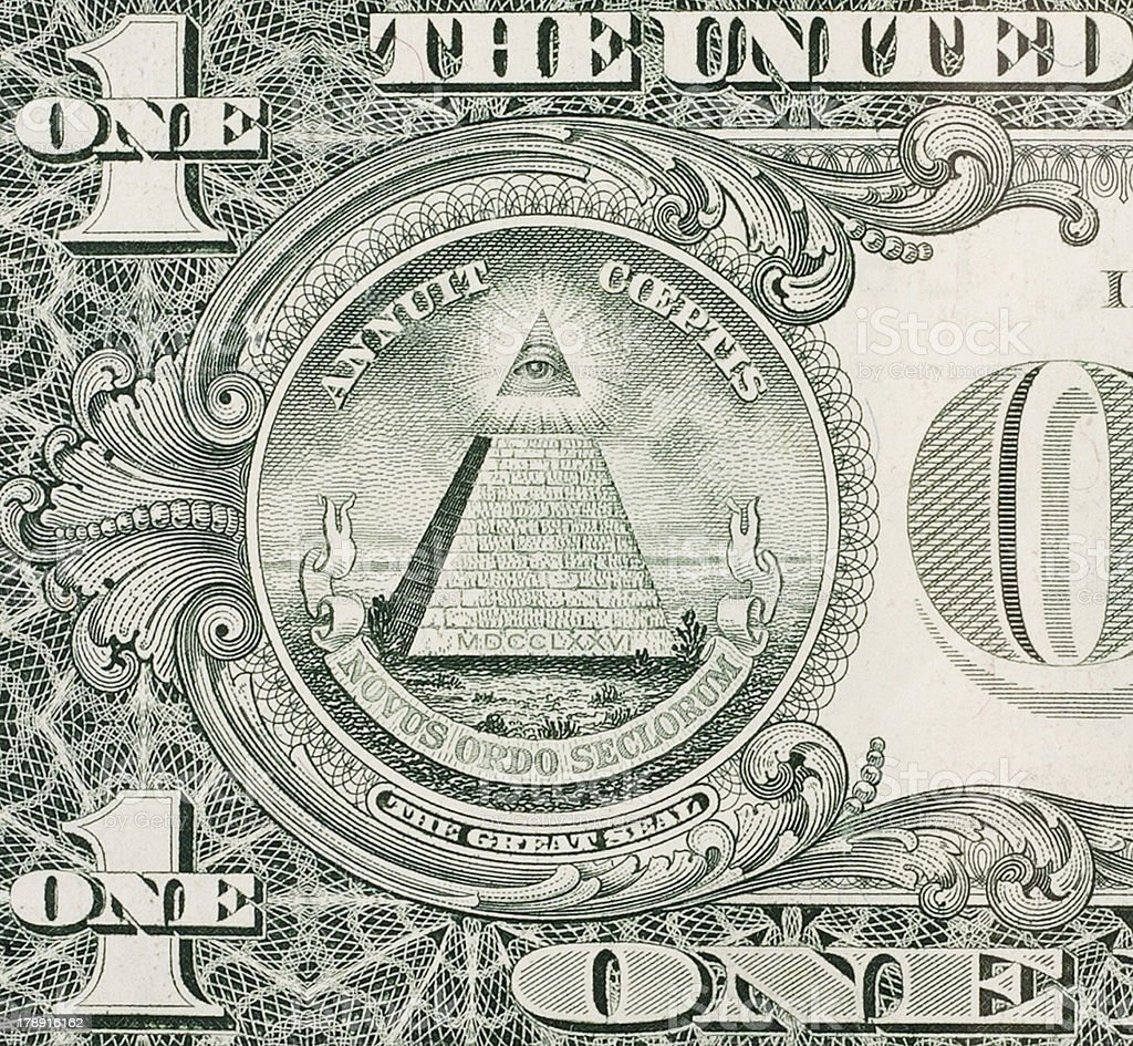 Eye of Providence - One dollar bill stock photo