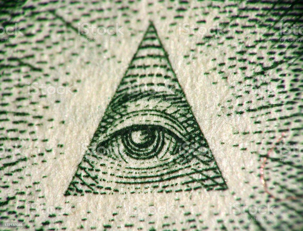 Eye of the One Dollar Pyramid royalty-free stock photo