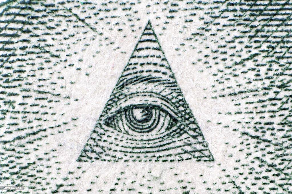 eye one dollar close up stock photo