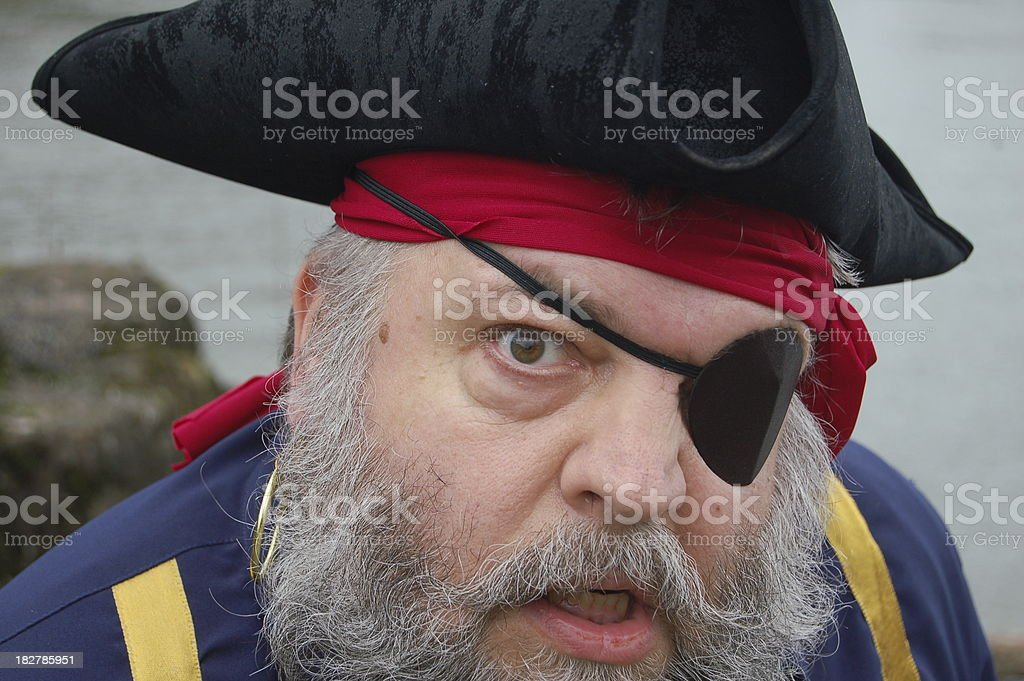 Eye Patched Pirate Close Up stock photo
