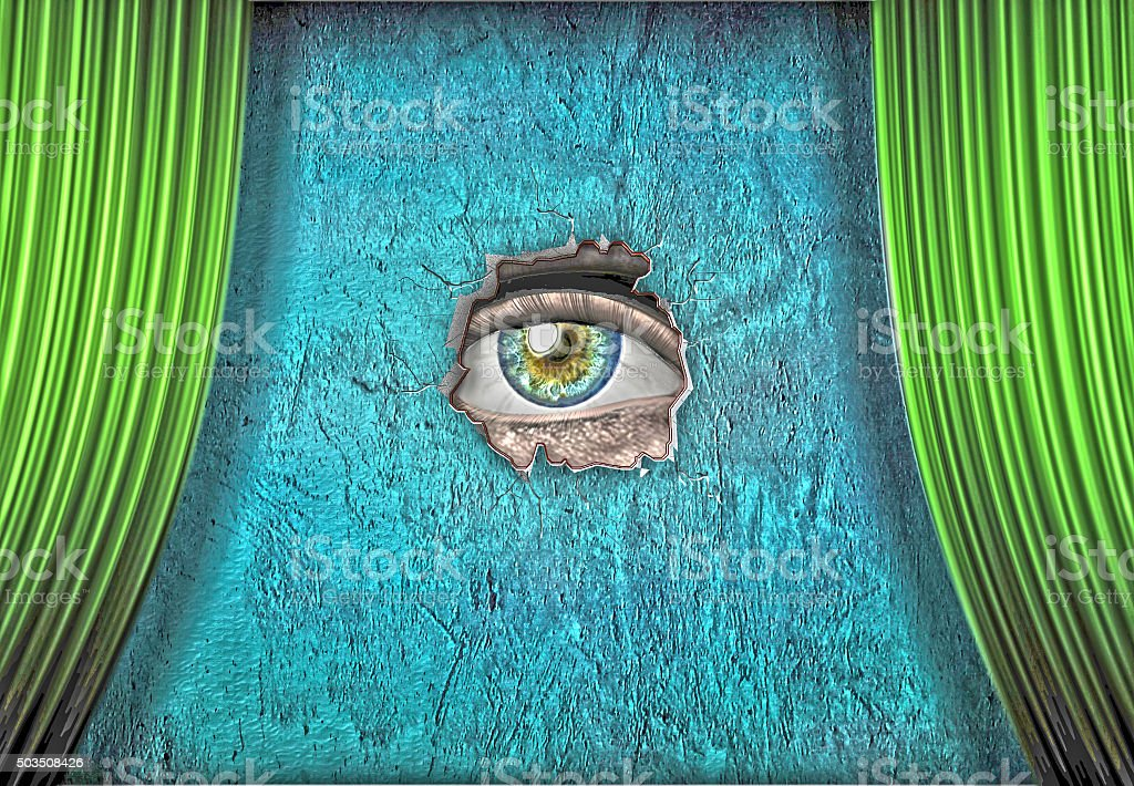Eye peers out from green curtained stage vector art illustration