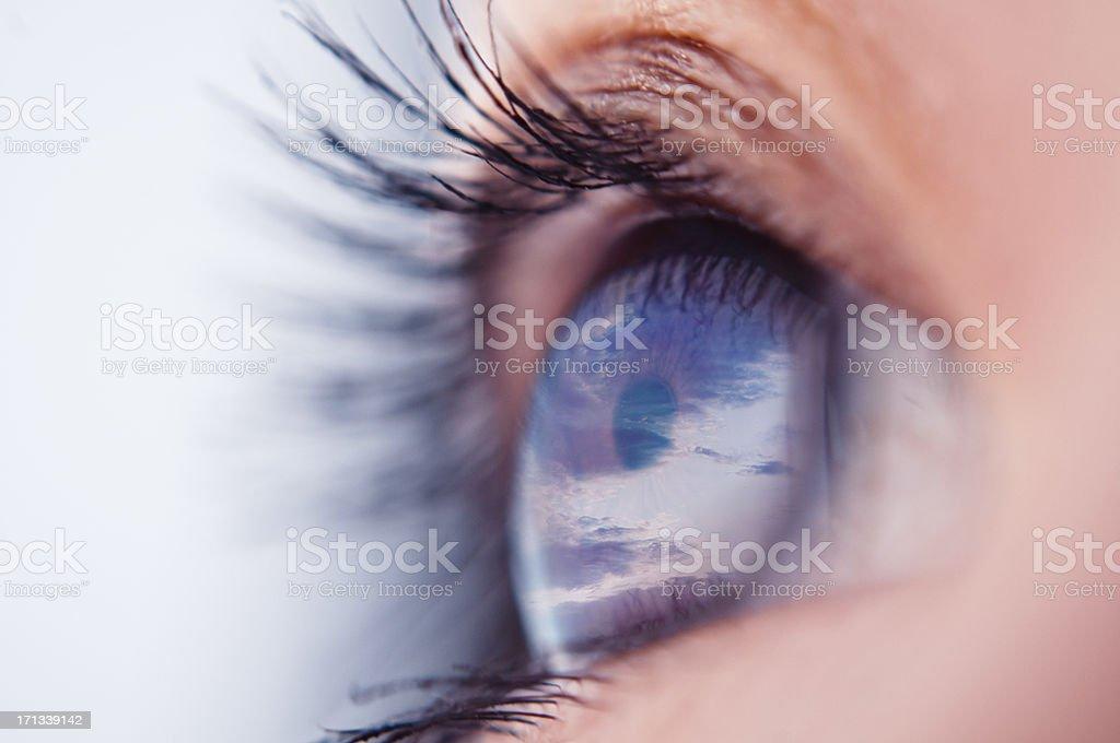 Eye reflection stock photo