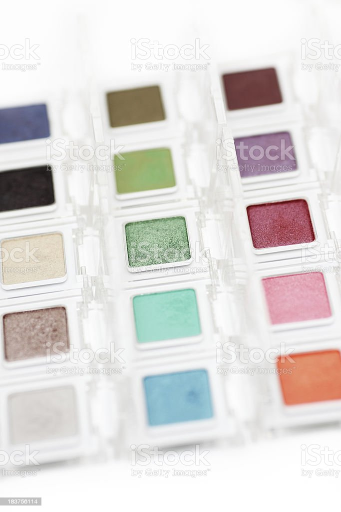 Eye shadow in transparent boxes royalty-free stock photo