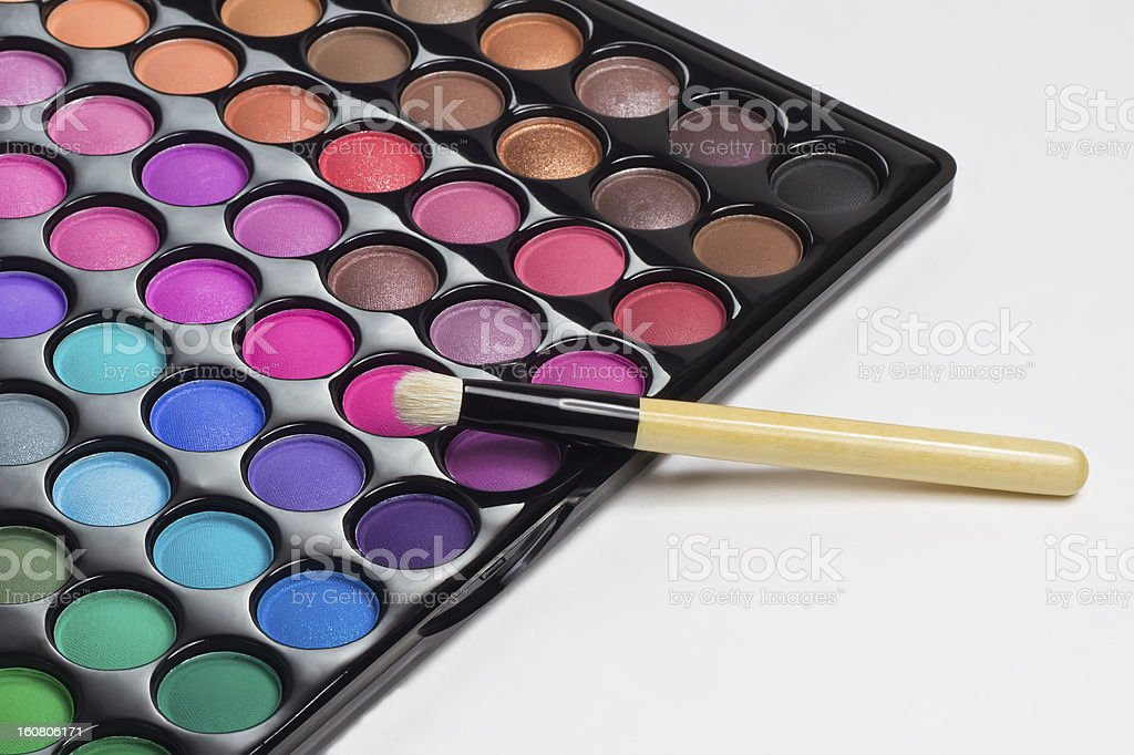 Eye shadows palette with makeup brush royalty-free stock photo