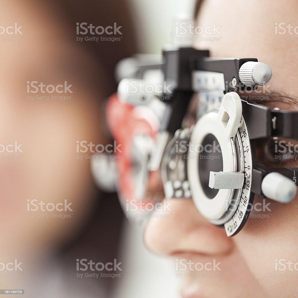 Eye sight examination at the optician's stock photo
