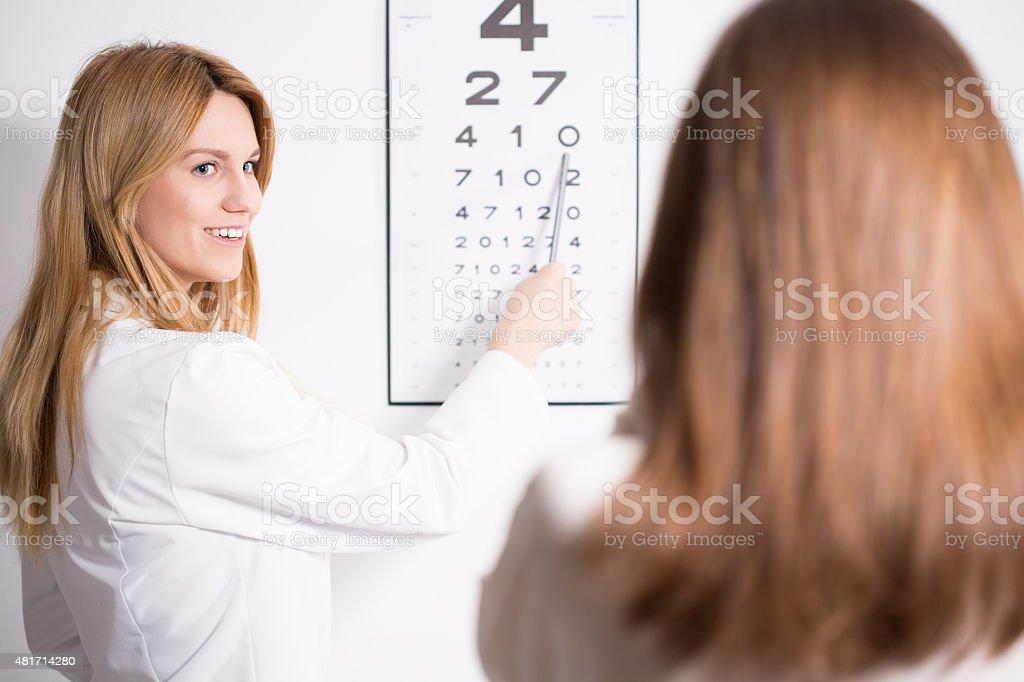 Eye specialist using Snellen test stock photo