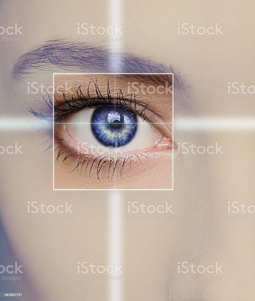 Eye technology, medicine and vision concept. royalty-free stock photo