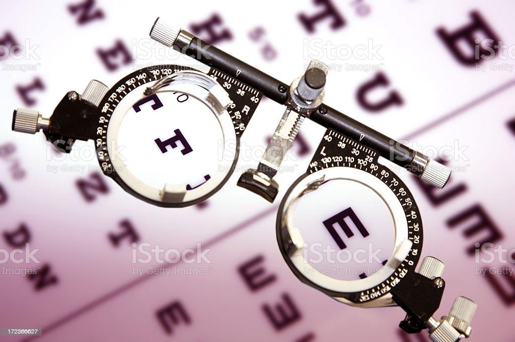 Eye test board and eye sight glasses royalty-free stock photo