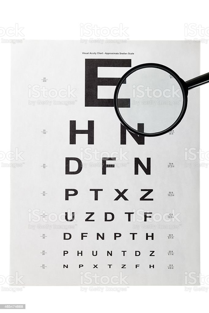 eye test chart and magnifying glass stock photo