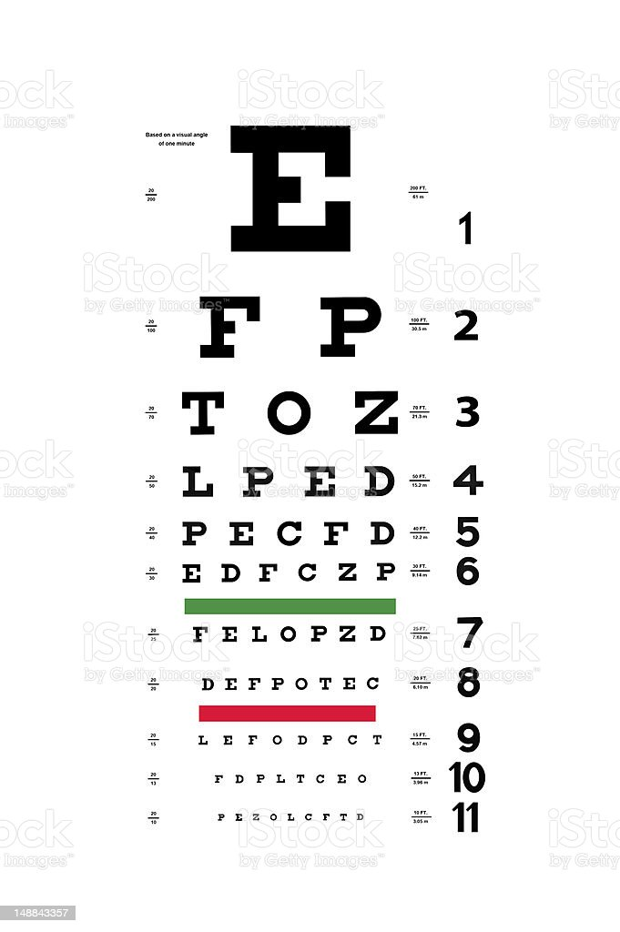 Eye test chart stock photo