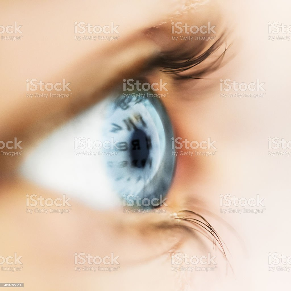 Eye Test Chart Reflecting In Eyeball stock photo