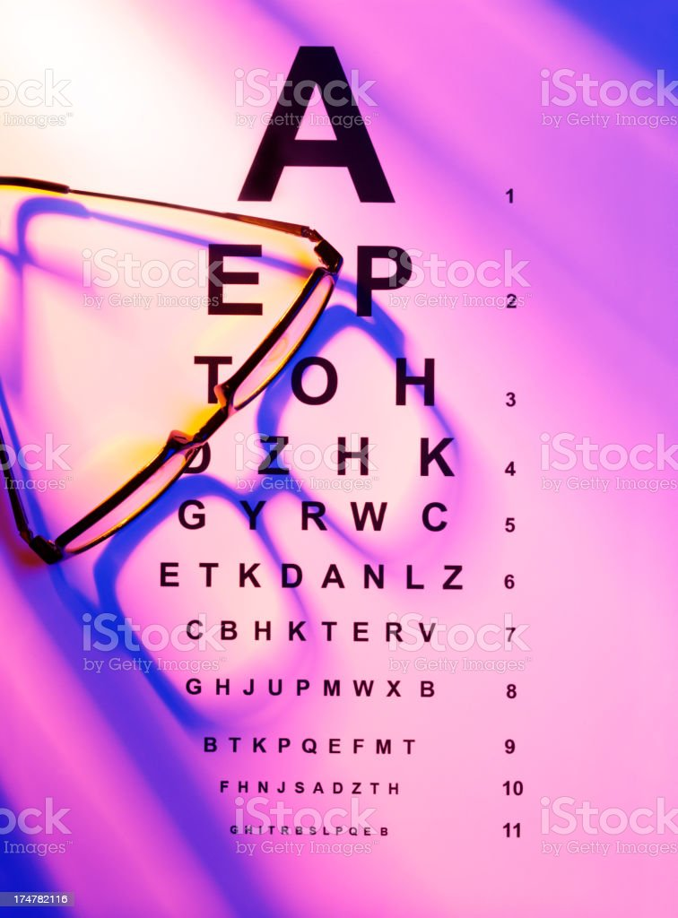 Eye Test Chart with Glasses royalty-free stock photo