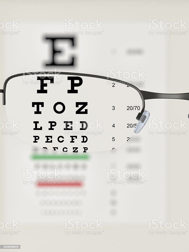 Eye test chart with glasses stock photo