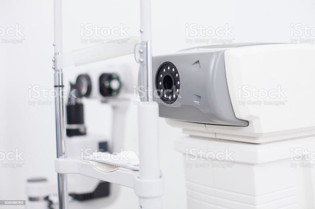Eye test machine in the oculist office stock photo