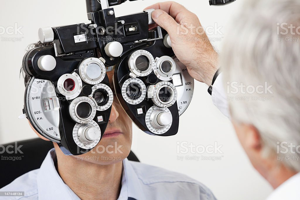 Eye Test With the Phoropter stock photo