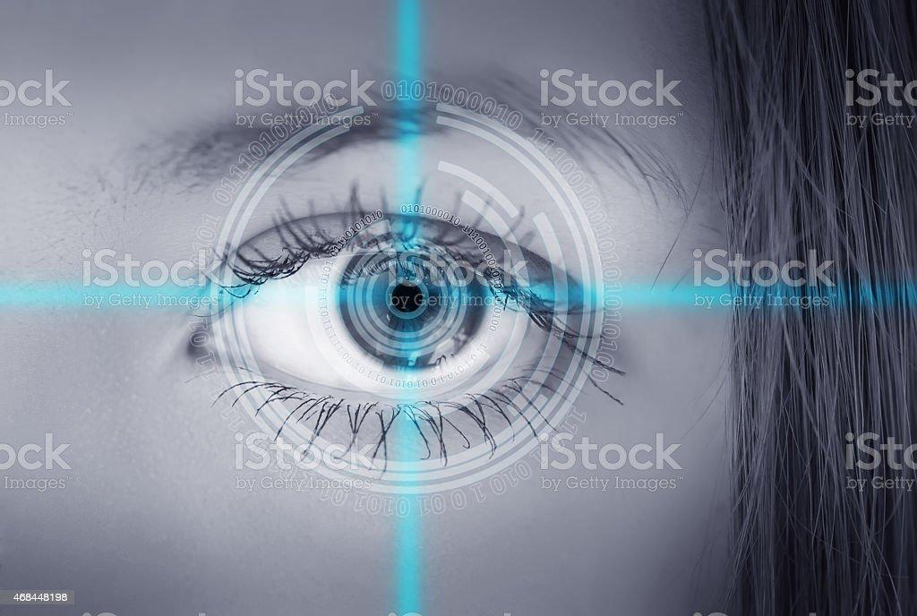 Eye viewing digital information. stock photo