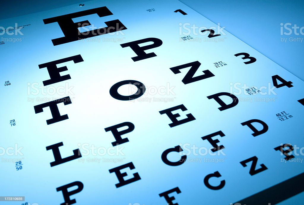 Eye vision chart with letters in different sizes stock photo