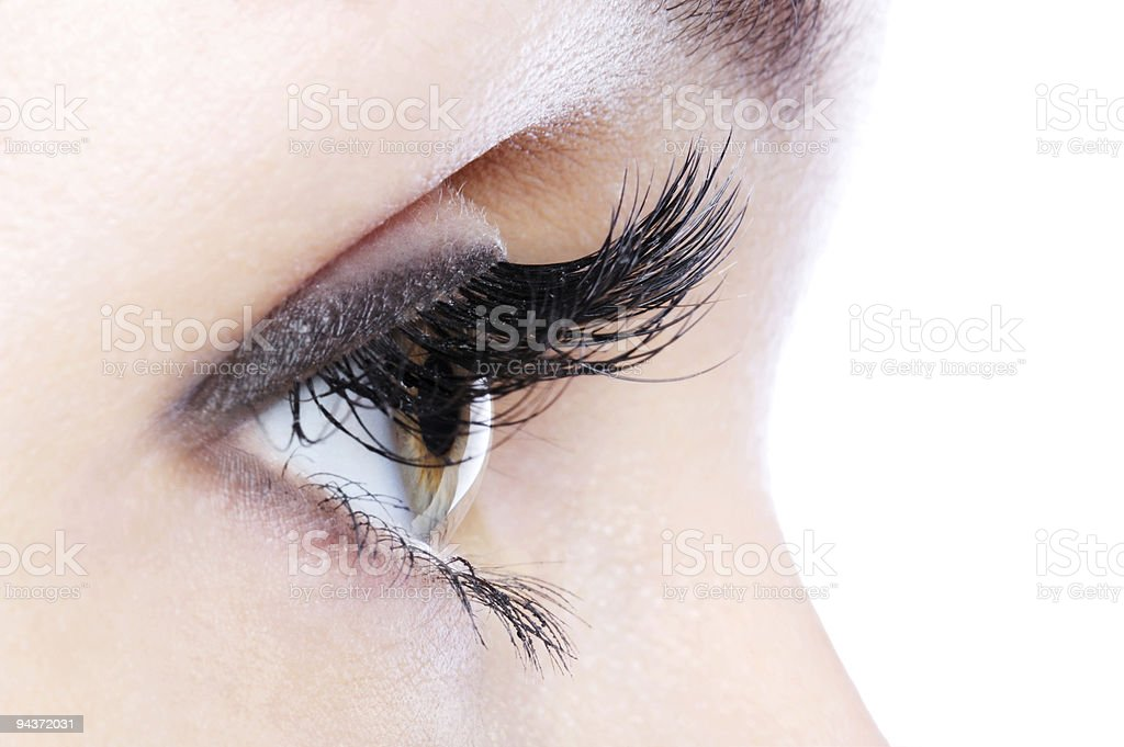 eye with a long curl false eyelashes royalty-free stock photo
