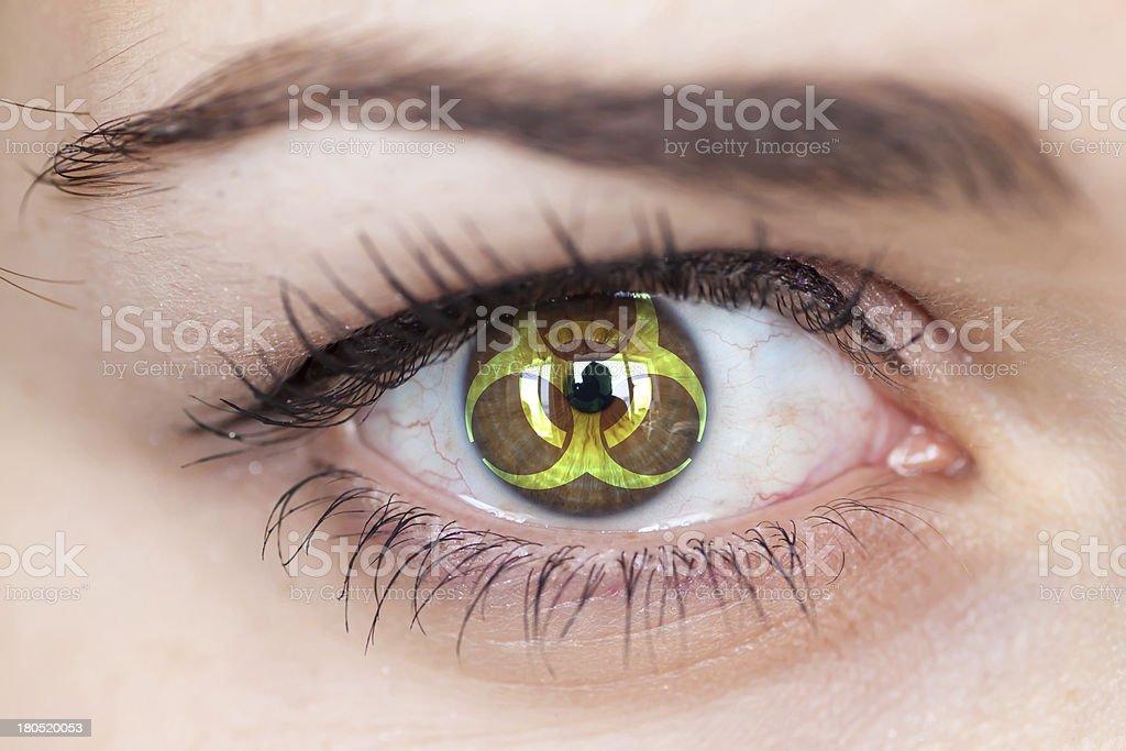 Eye with biohazard symbol. royalty-free stock photo