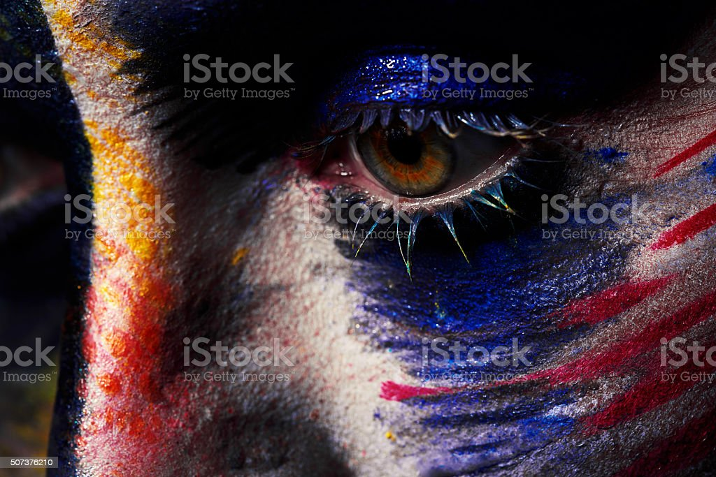 eye with colorful makeup stock photo