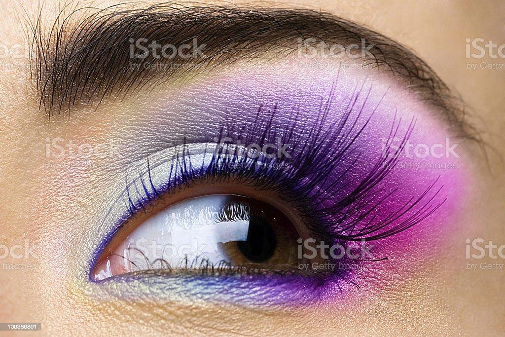 eye with make-up and long eyelashes royalty-free stock photo