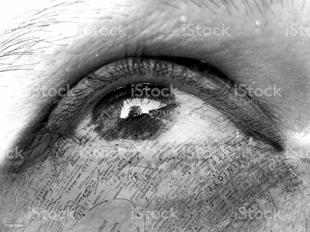 eye with map royalty-free stock photo