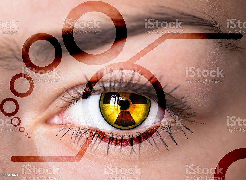Eye with radiation symbol. stock photo