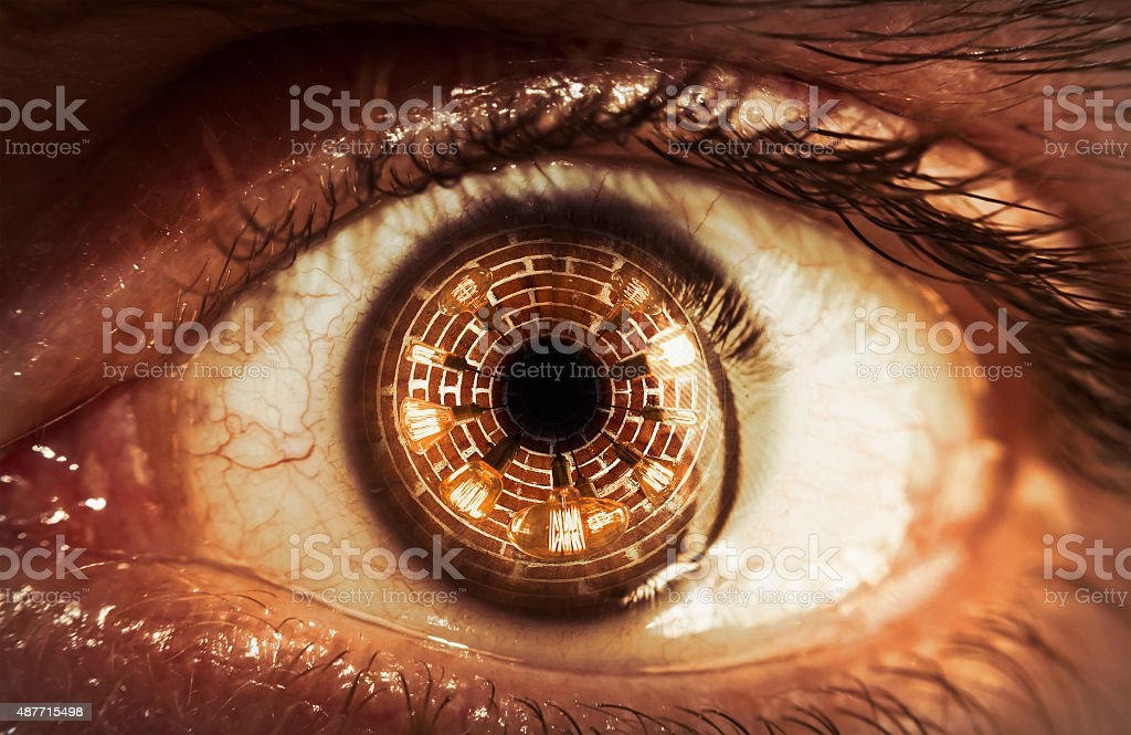 Eyeball Lightbulb Reflection stock photo