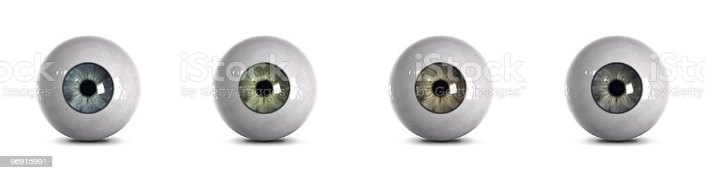 Eyeballs - 4 realistic colors with clipping path stock photo