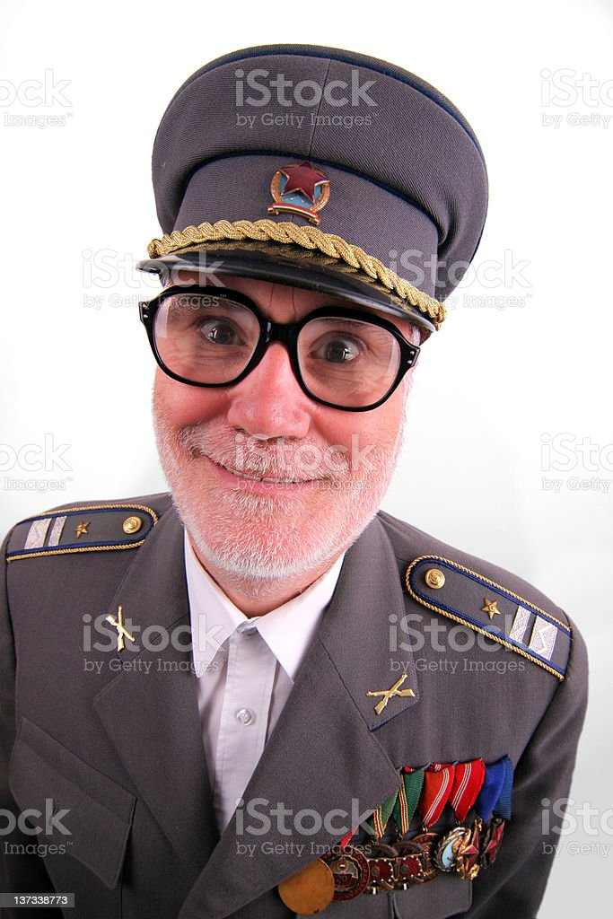 Eyeglassed soviet soldier royalty-free stock photo