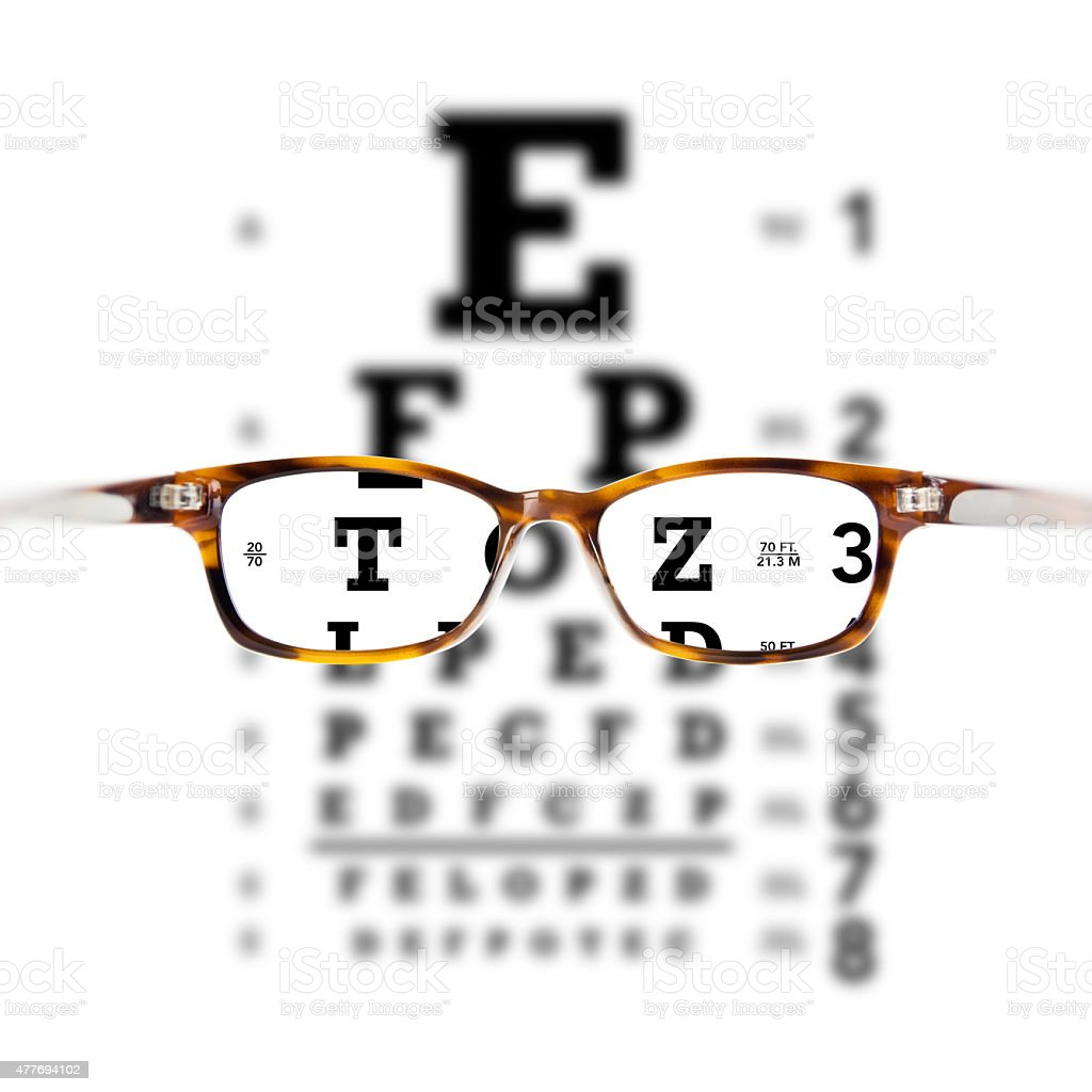 Eyeglasses against eye chart stock photo