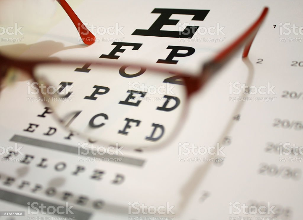 eyeglasses and eye chart close-up on a light background stock photo