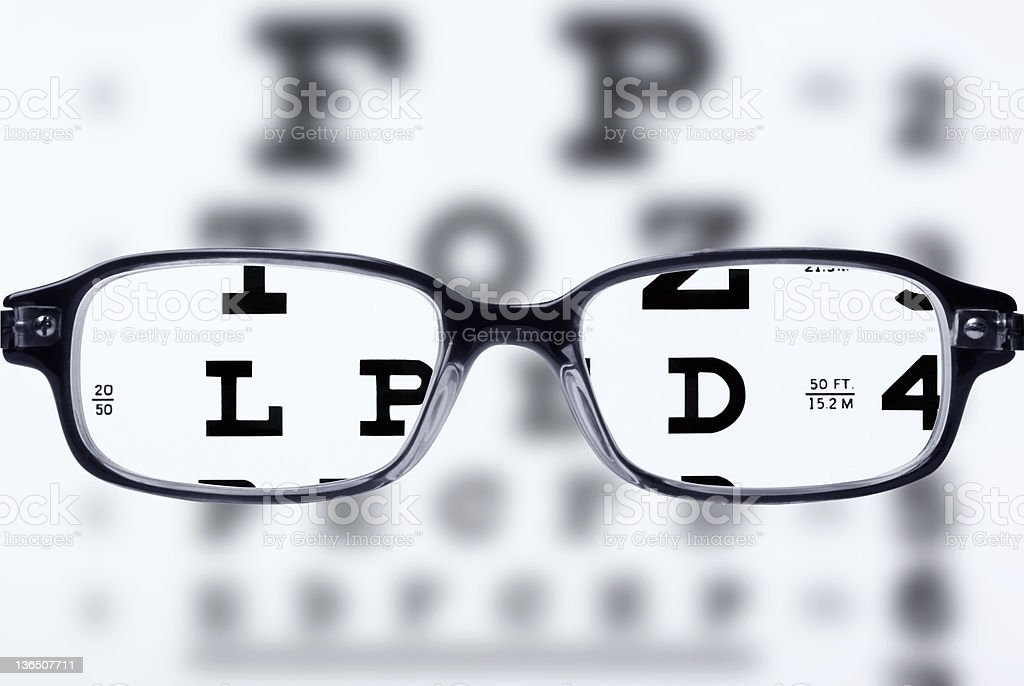 Eyeglasses and eye chart stock photo