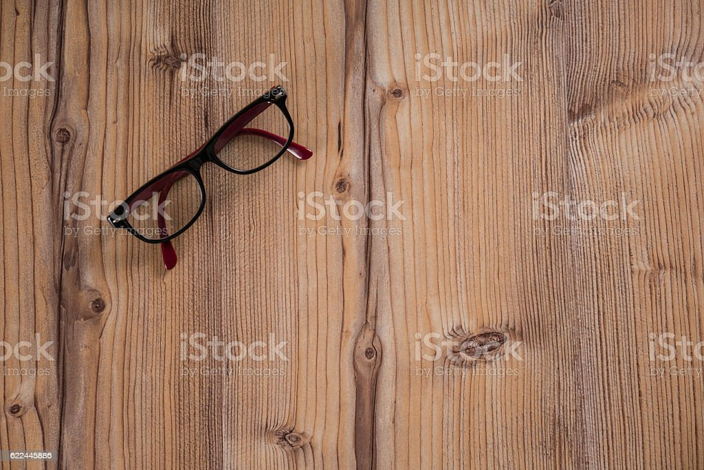 Eyeglasses Glasses on the wood table stock photo