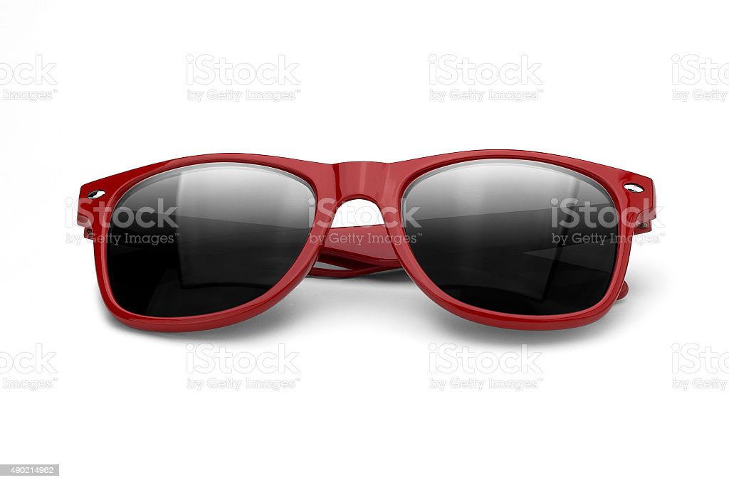 eyeglasses red  isolated over the white background stock photo