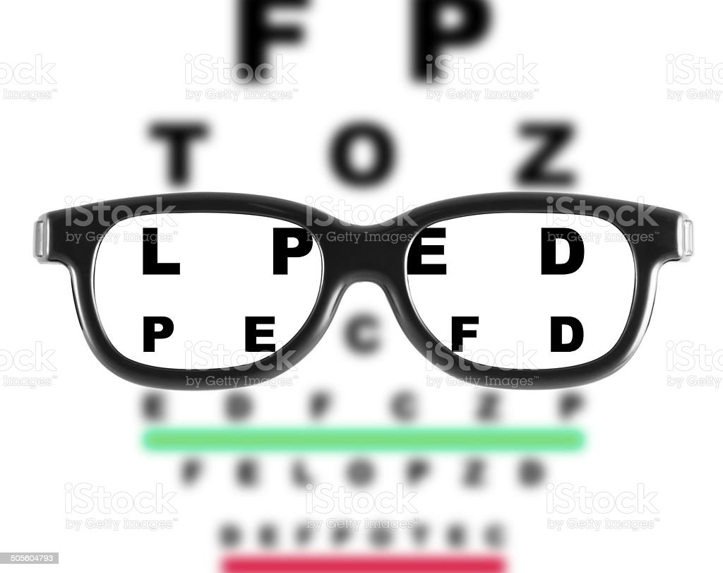 Eyeglasses with eye chart stock photo