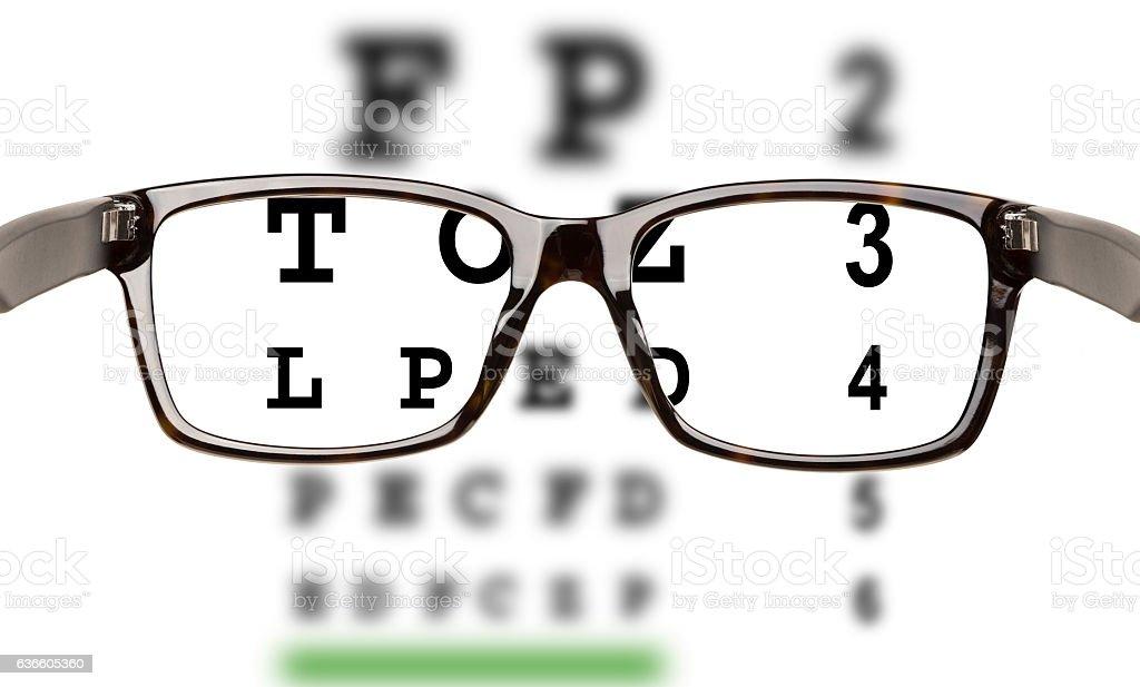 Eyeglasses with eyesight test stock photo